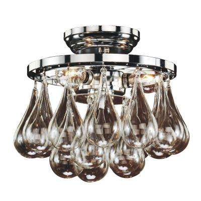 Concorde 3-Light Glass and Chrome Frame Flush Mount