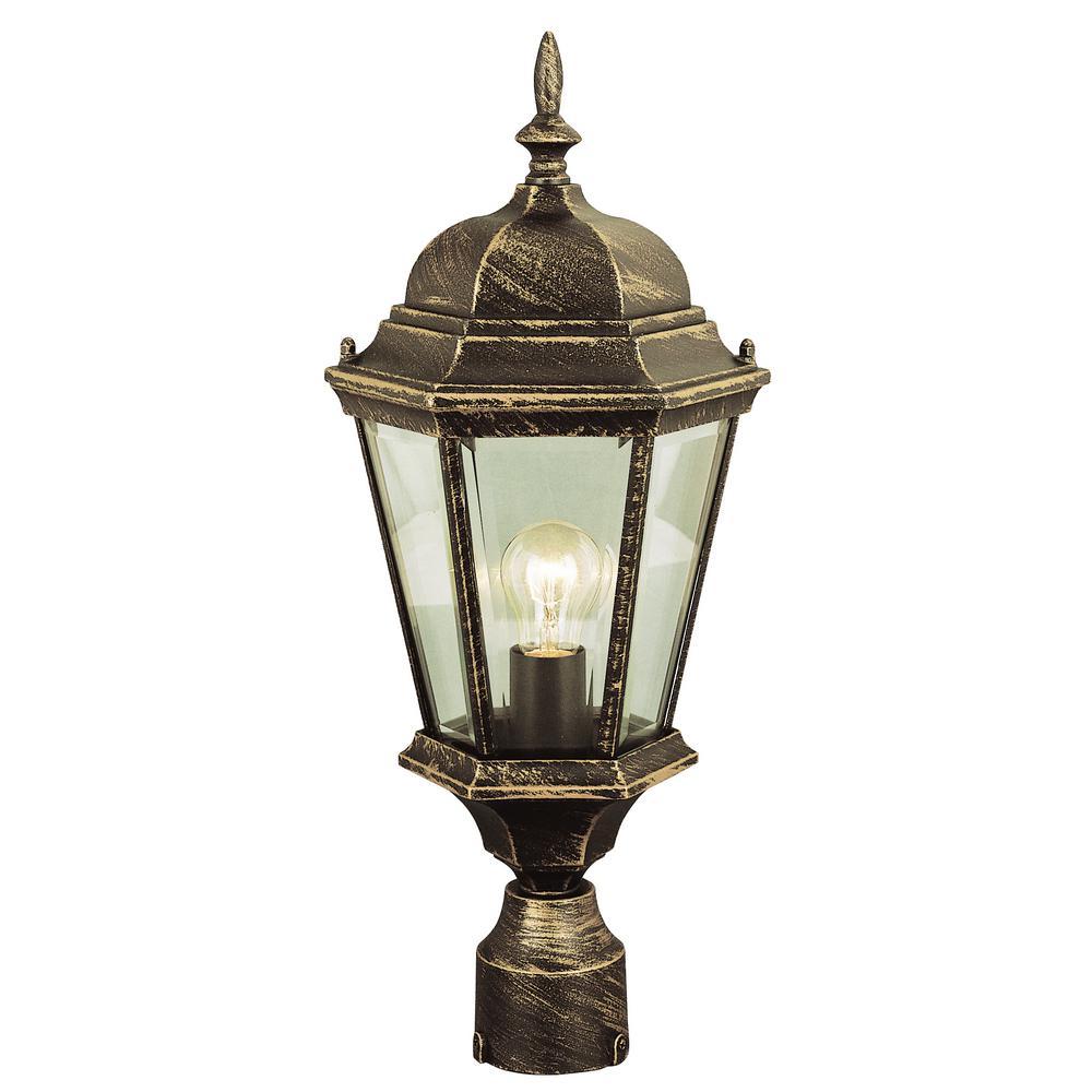 San Rafael 22 in. 1-Light Black Gold Outdoor Postmount Lantern