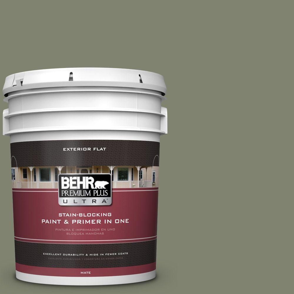 BEHR Premium Plus Ultra 5-gal. #PPU10-18 Lizard Green Flat Exterior Paint