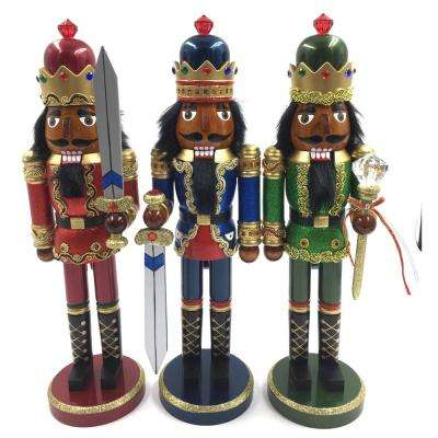 15 in. Black Bejeweled King Nutcracker (Set of 3)