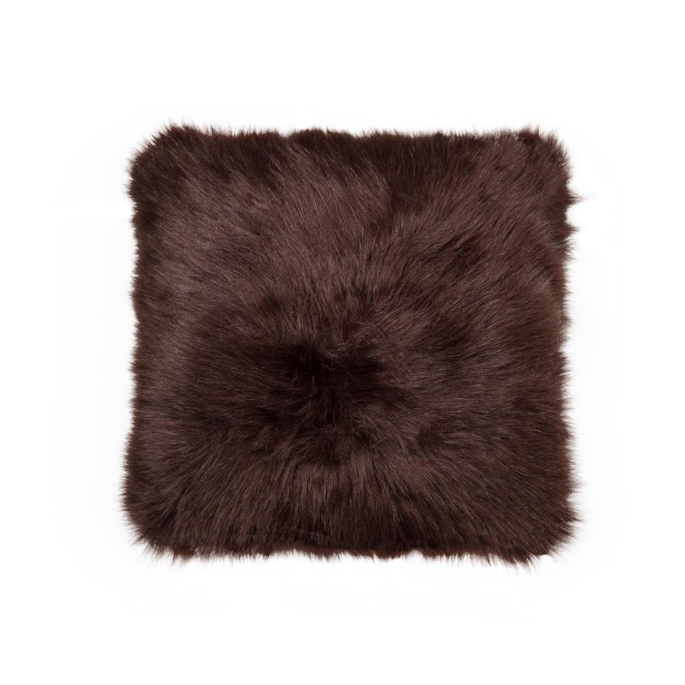 Belton Chocolate 18 in. x 18 in. Faux Sheepskin Decorative Pillow