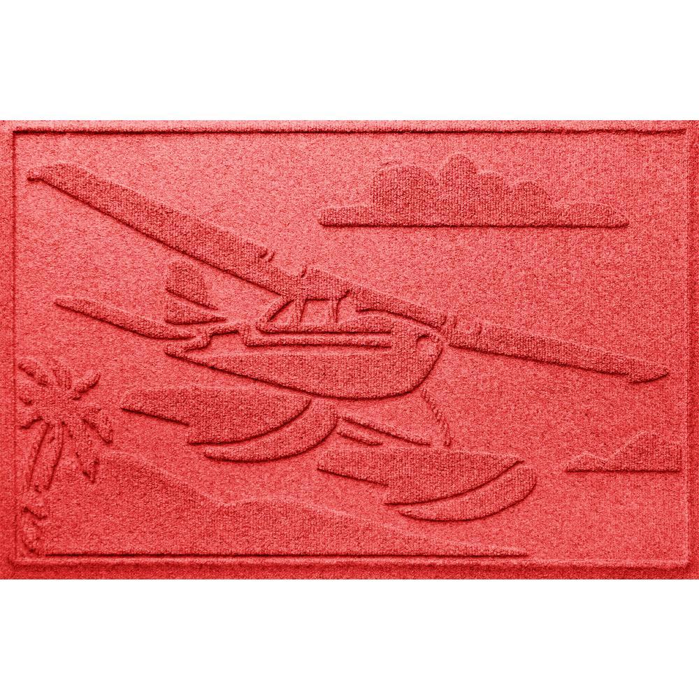 Solid Red 24 in. x 36 in. Sea Plane Polypropylene Door Mat