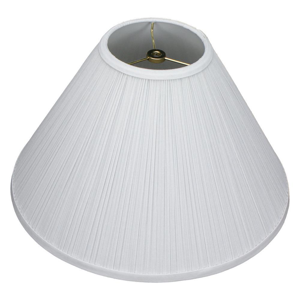 "Fenchel Shades 5"" Top Diameter x 15"" Bottom Diameter x 10"" Slant,  Coolie Lamp Shade - Pleated Mushroom White"