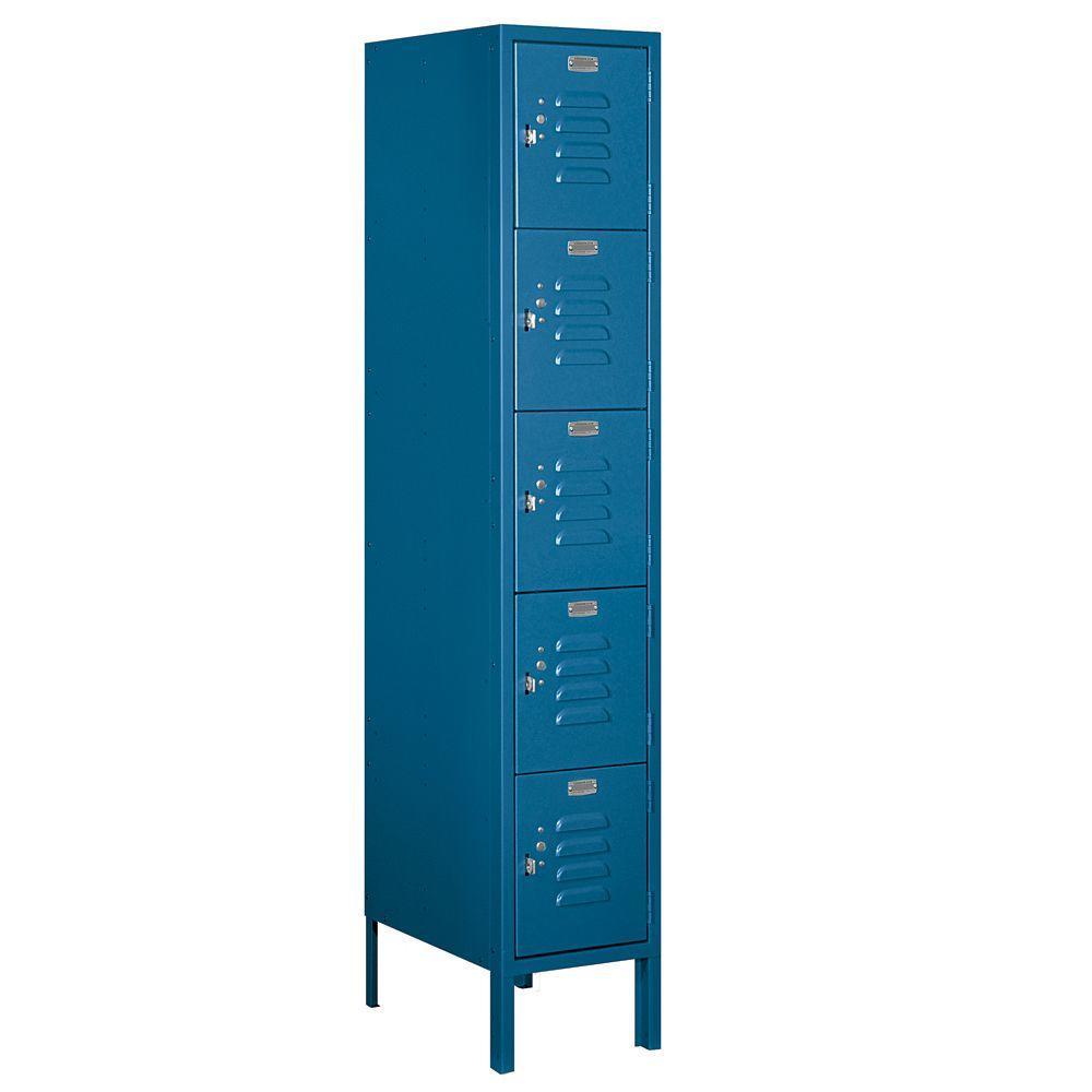 Salsbury Industries 65000 Series 12 in. W x 66 in. H x 18 in. D Five Tier Box Style Metal Locker Unassembled in Blue