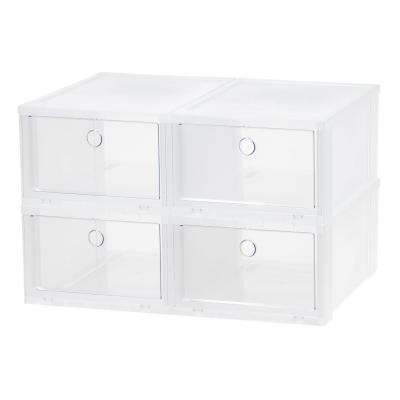 4-Pair Clear Wide Pull Down Front Access Shoe Box Plastic Shoe Organizer
