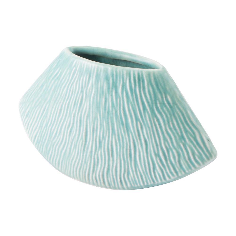 Lineal 7.5 in. W x 3.7 in. H Matt Green Ceramic Planter