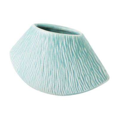 Lineal 7.5 in. W x 3.7 in. H Matt Green Ceramic Planter