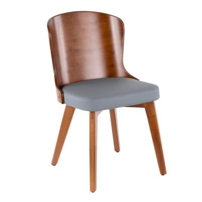 Bocello Walnut Wood and Grey Faux Leather Chair