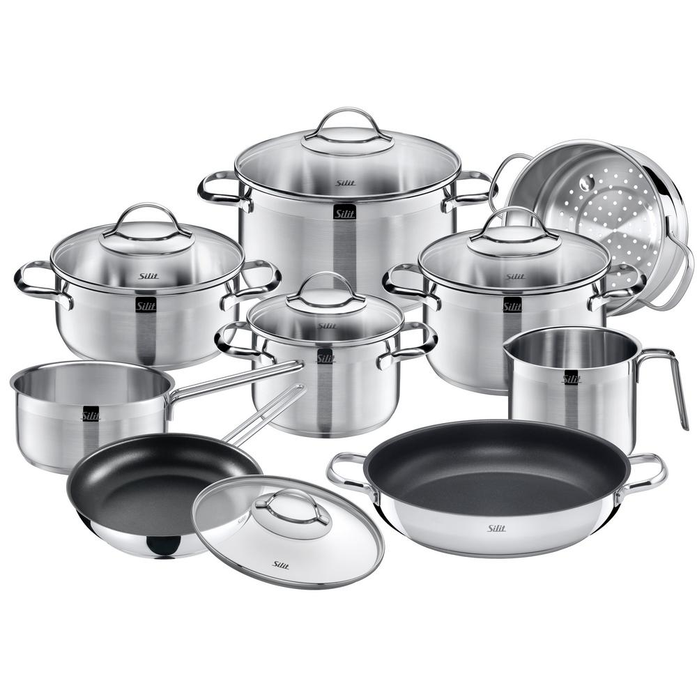 wmf achat 14 piece stainless steel cookware set with lids the home depot. Black Bedroom Furniture Sets. Home Design Ideas