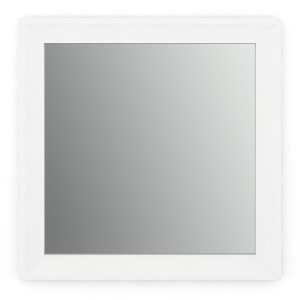 33 in. W x 33 in. H (L2) Framed Square Standard Glass Bathroom Vanity Mirror in Matte White