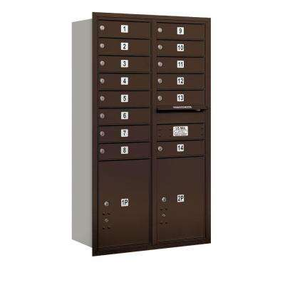 48 in. H x 31-1/8 in. W Bronze Rear Loading 4C Horizontal Mailbox with 14 MB1 Doors/2 PL5's