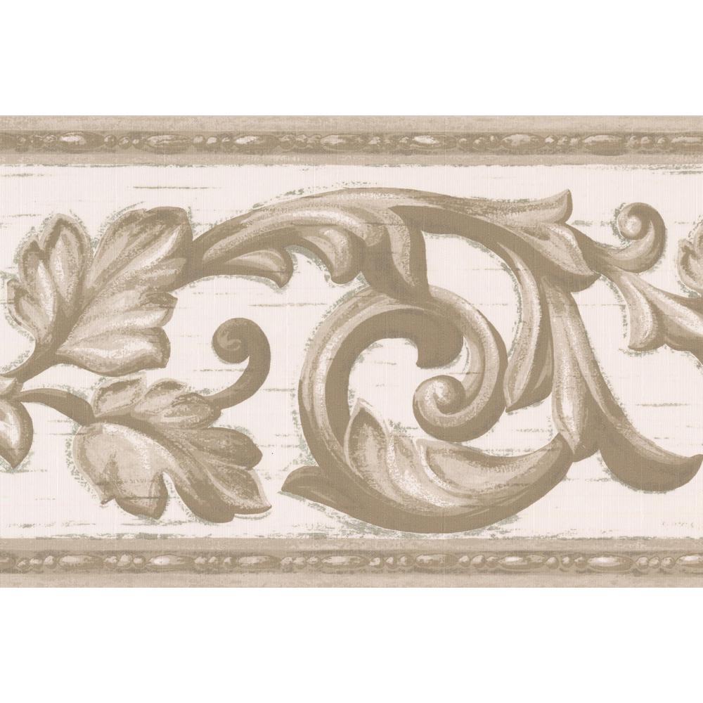 Home Depot Wallpaper Borders.Grey Vine White Damask Prepasted Wallpaper Border