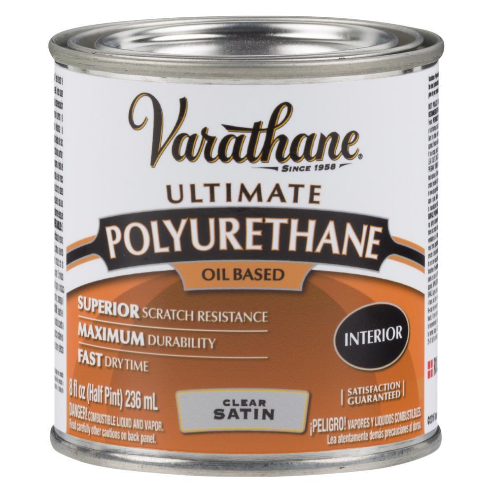 Varathane 8 oz. Clear Satin Oil-Based Interior Polyurethane (4-Pack)