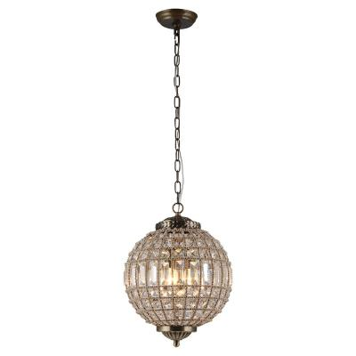 Gaskara 3-Light Crystal Antique Gold Pendant