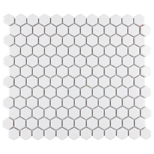 Metro 1'' Hex Glossy White 10-1/4 in. x 11-7/8 in. Porcelain Mosaic Tile (8.65 sq. ft. / case)
