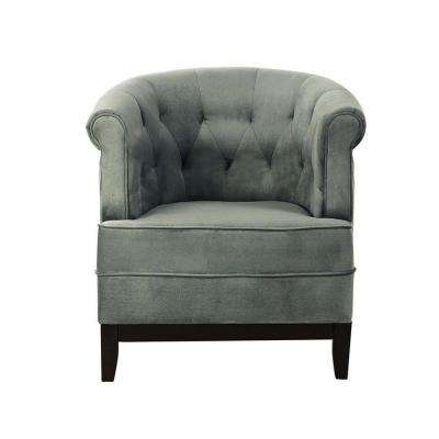 Charmant Emma Sea Green Velvet Tufted Arm Chair