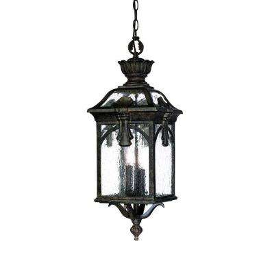 Belmont Collection Hanging Outdoor 3-Light Black Coral Light Fixture