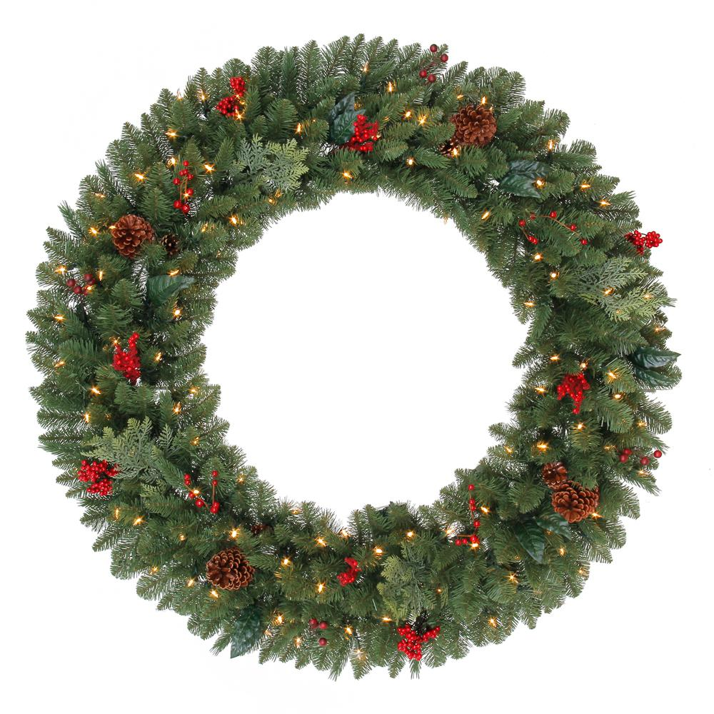 48 in. Battery Operated Pre-Lit LED Artificial Winslow Fir Christmas Wreath