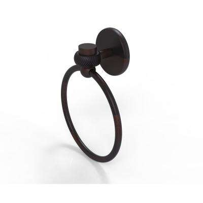 Satellite Orbit One Collection Towel Ring with Twist Accent in Venetian Bronze