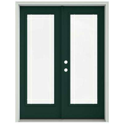 60 in. x 80 in. Hartford Green Prehung Right-Hand Inswing 9 Lite French Patio Door with Brickmould
