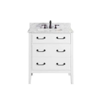 Delano 31 in. W x 22 in. D x 35 in. H Vanity in White with Marble Vanity Top in Carrera White with White Basin