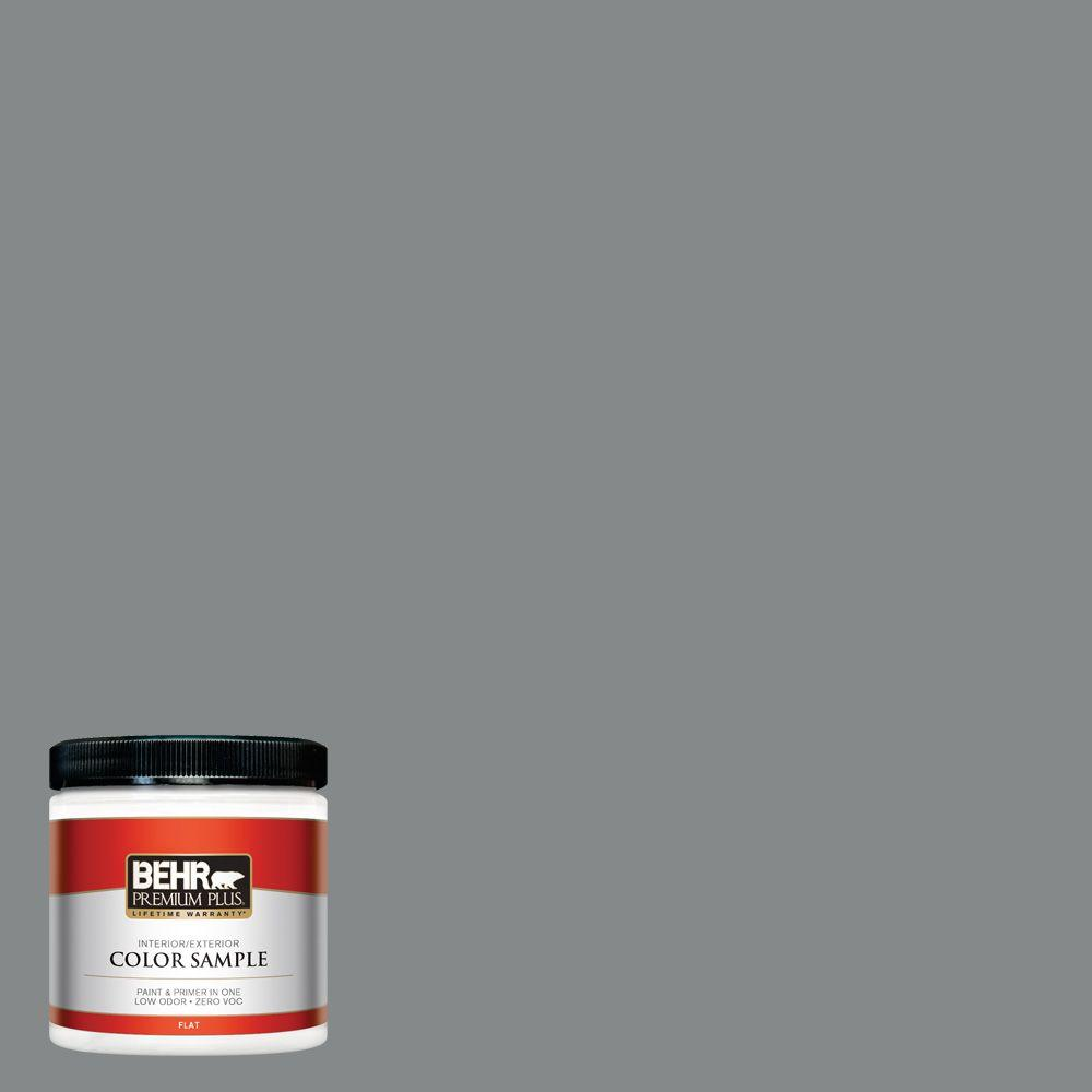 8 oz. #N460-5 Slate Rock Flat Zero VOC Interior/Exterior Paint and