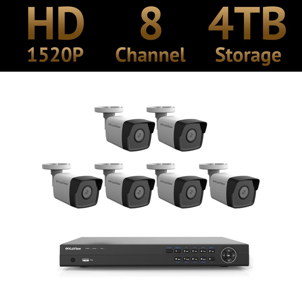 8-Channel 4MP 1520p 4TB Hard Drive Surveillance System with 100 ft.