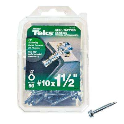 #10 1-1/2 in. External Hex Flange Hex-Head Self-Drilling Screws (90-Pack)