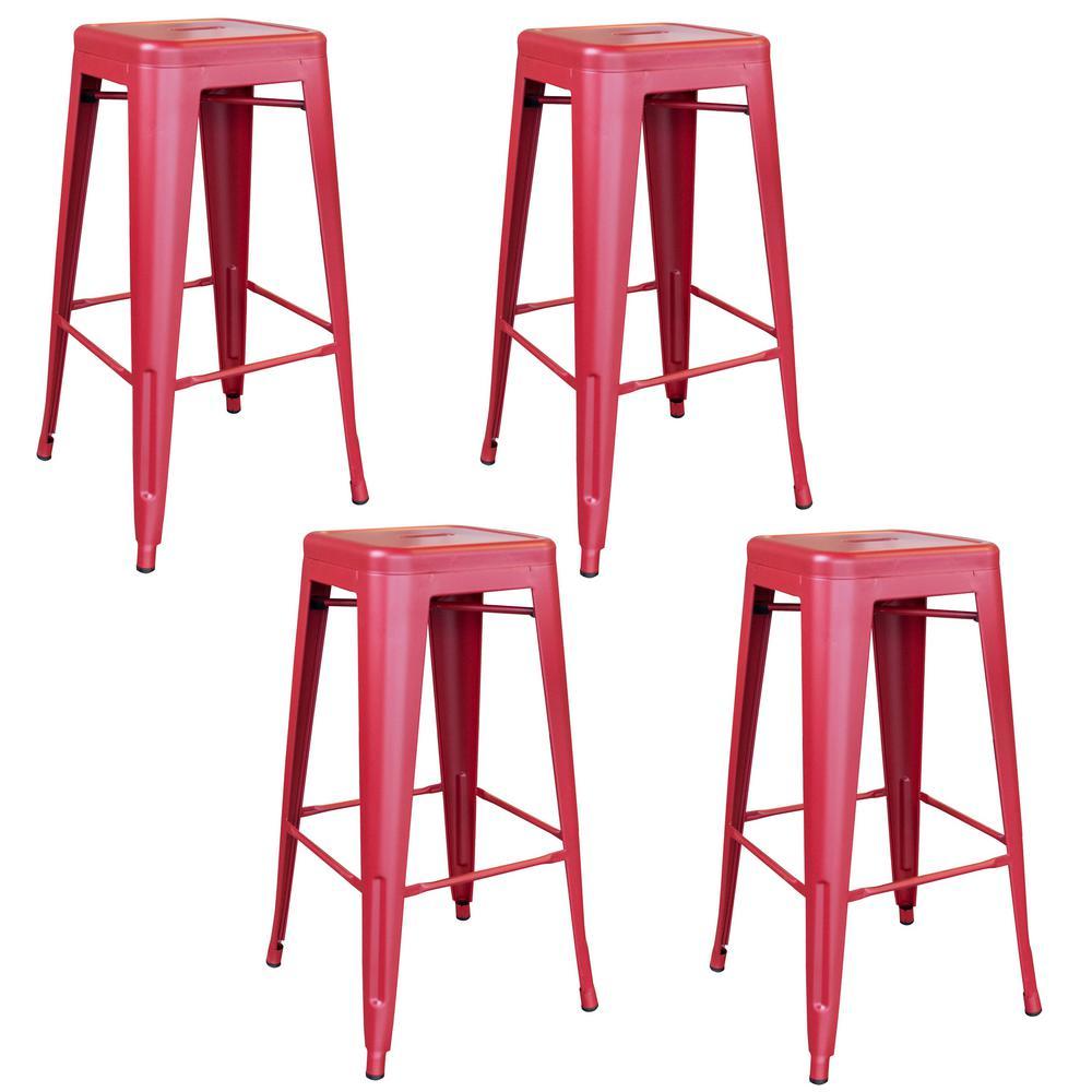 Loft Series 30 in. Red Indoor/Outdoor Stackable Anti-Rust Coated Metal Bar