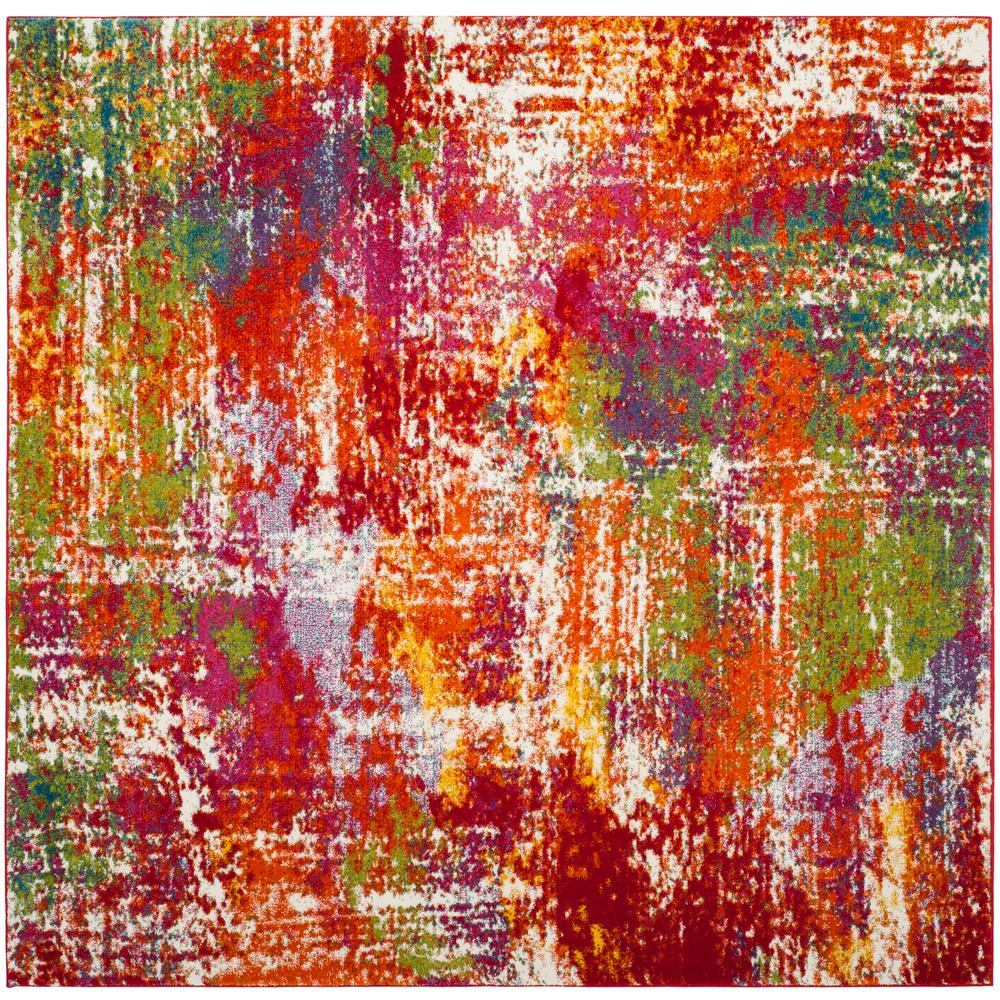 Safavieh Watercolor Orange/Green 7 Ft. X 7 Ft. Square Area
