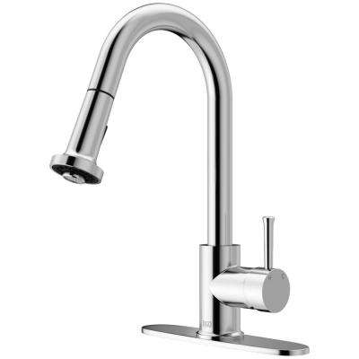 Harrison Single-Handle Pull-Down Sprayer Kitchen Faucet with Deck Plate in Chrome