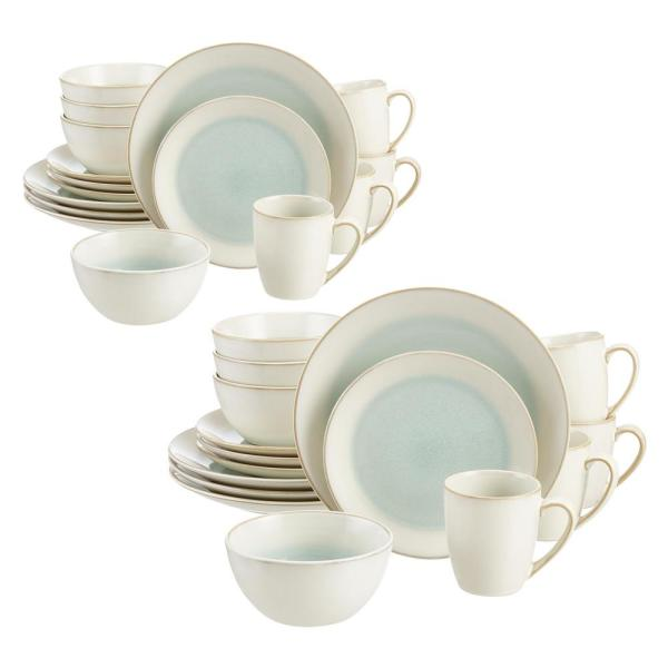 Adelaide 32-Piece Reactive Glaze Seabreeze Blue-Green Stoneware Dinnerware Set (Service for 8)