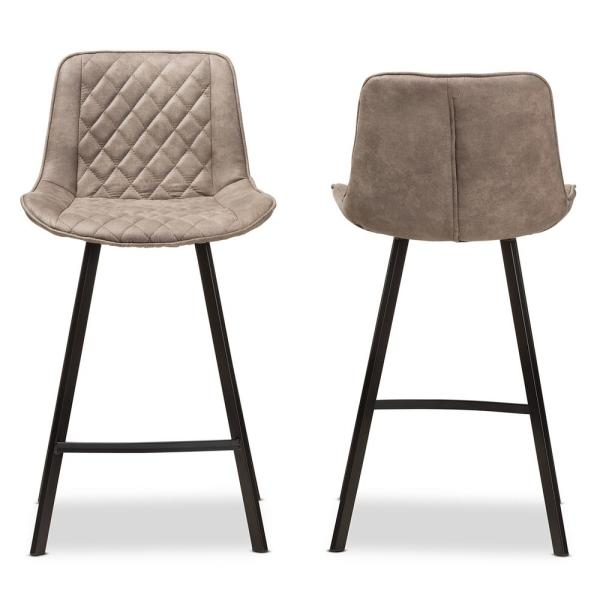 Baxton Studio Pickford 26 in. Light Brown Bar Stool (Set of 2)