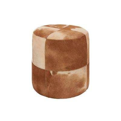 Rustic Organic Brown and Ivory Round Ottoman