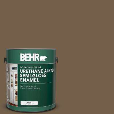 1 gal. #MS-46 Chestnut Brown Urethane Alkyd Semi-Gloss Enamel Interior/Exterior Paint