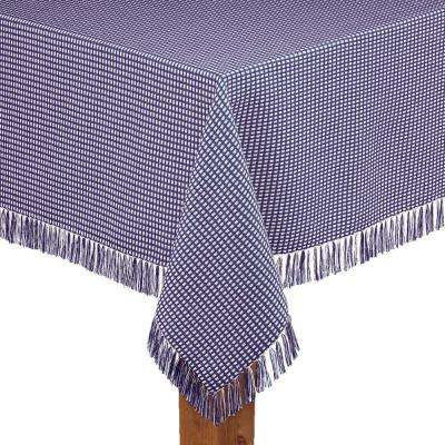 Homespun Fringed 70 in. Round Marine 100% Cotton Tablecloth