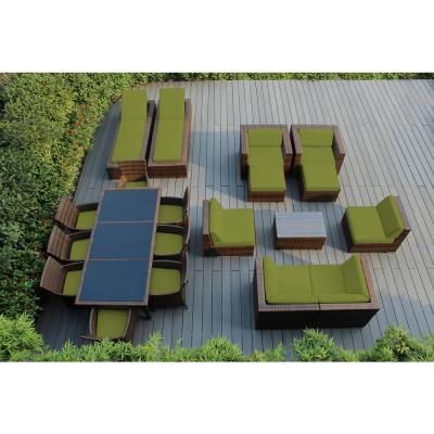 Mixed Brown 20-Piece Wicker Patio Combo Conversation Set with Supercrylic Peridot Cushions