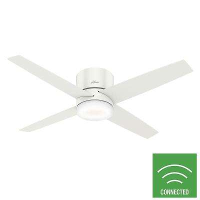 Advocate 54 in. Integrated LED Indoor Fresh White Low Profile Smart Ceiling Fan with Light and Remote Control