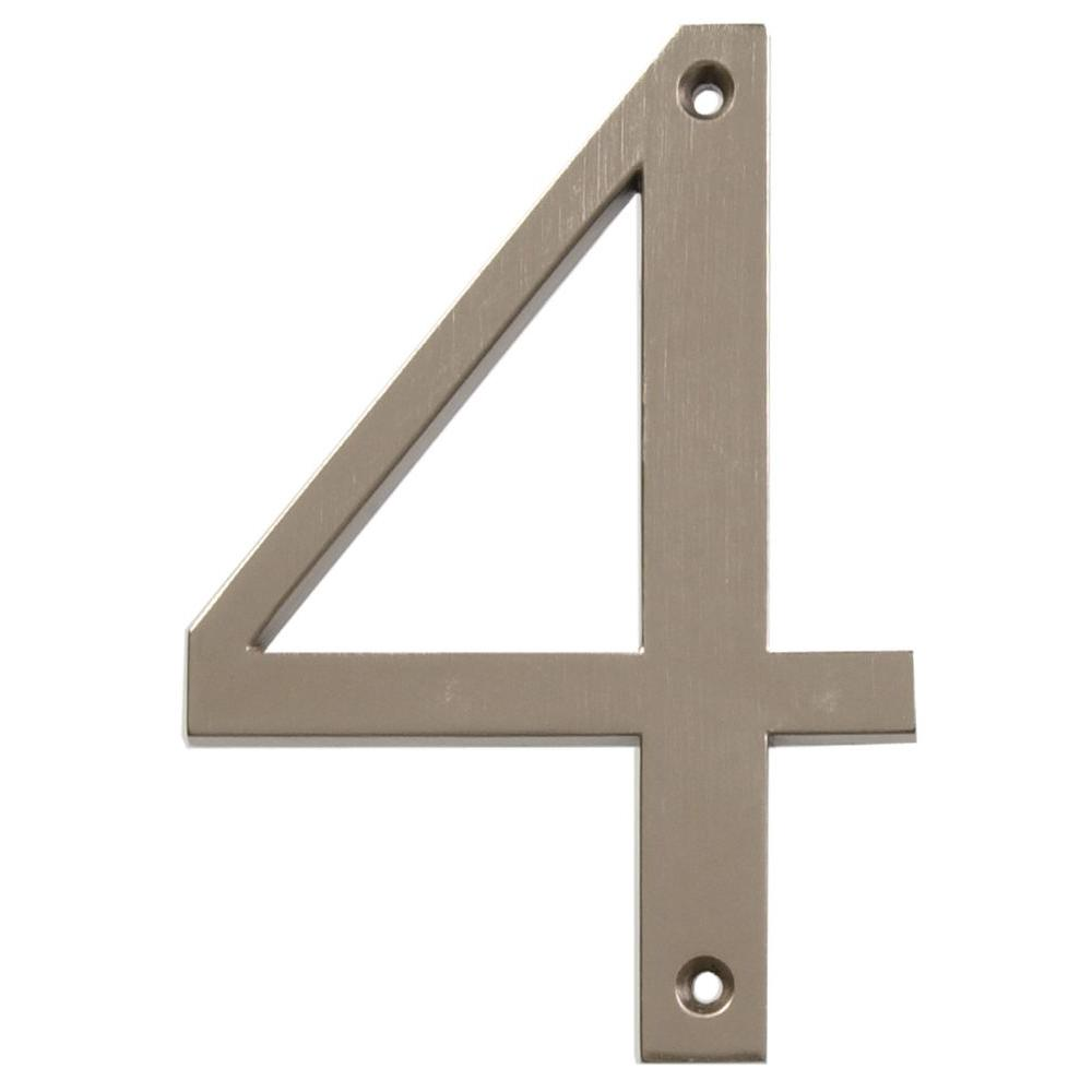 Distinctions 4 in. Flush Mount Brushed Nickel House Number 4