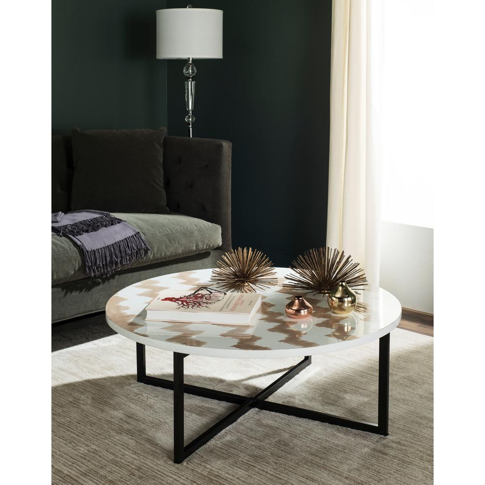 Safavieh Cheyenne Warm Gray White Coffee Table Trb1001c