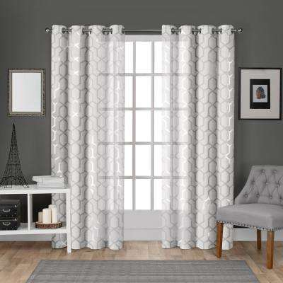 Panza 54 in. W x 108 in. L Sheer Grommet Top Curtain Panel in Winter White, Silver (2 Panels)