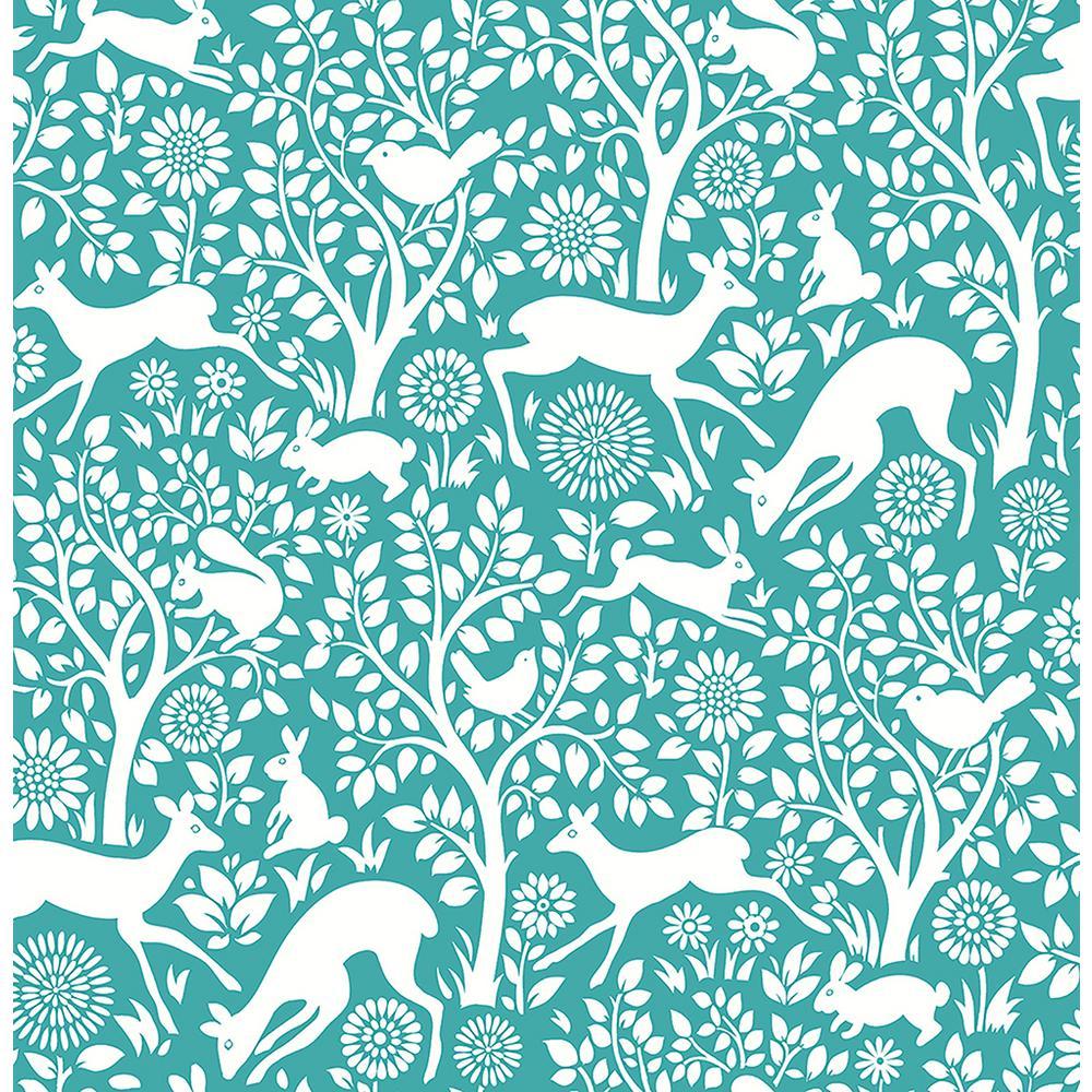 Meadow Teal Animals Wallpaper