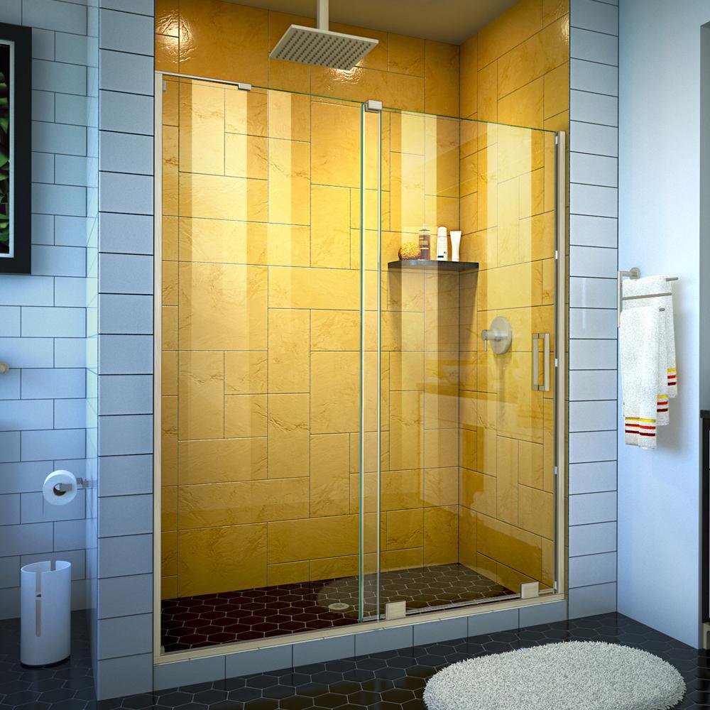 Mirage-Z 60 in. W x 72 in. H Frameless Sliding Shower Door in Brushed Nickel