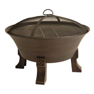 26 in. Cast Iron Deep Bowl Fire Pit with Cooking Grid, Weather Cover, Spark Screen, and Poker