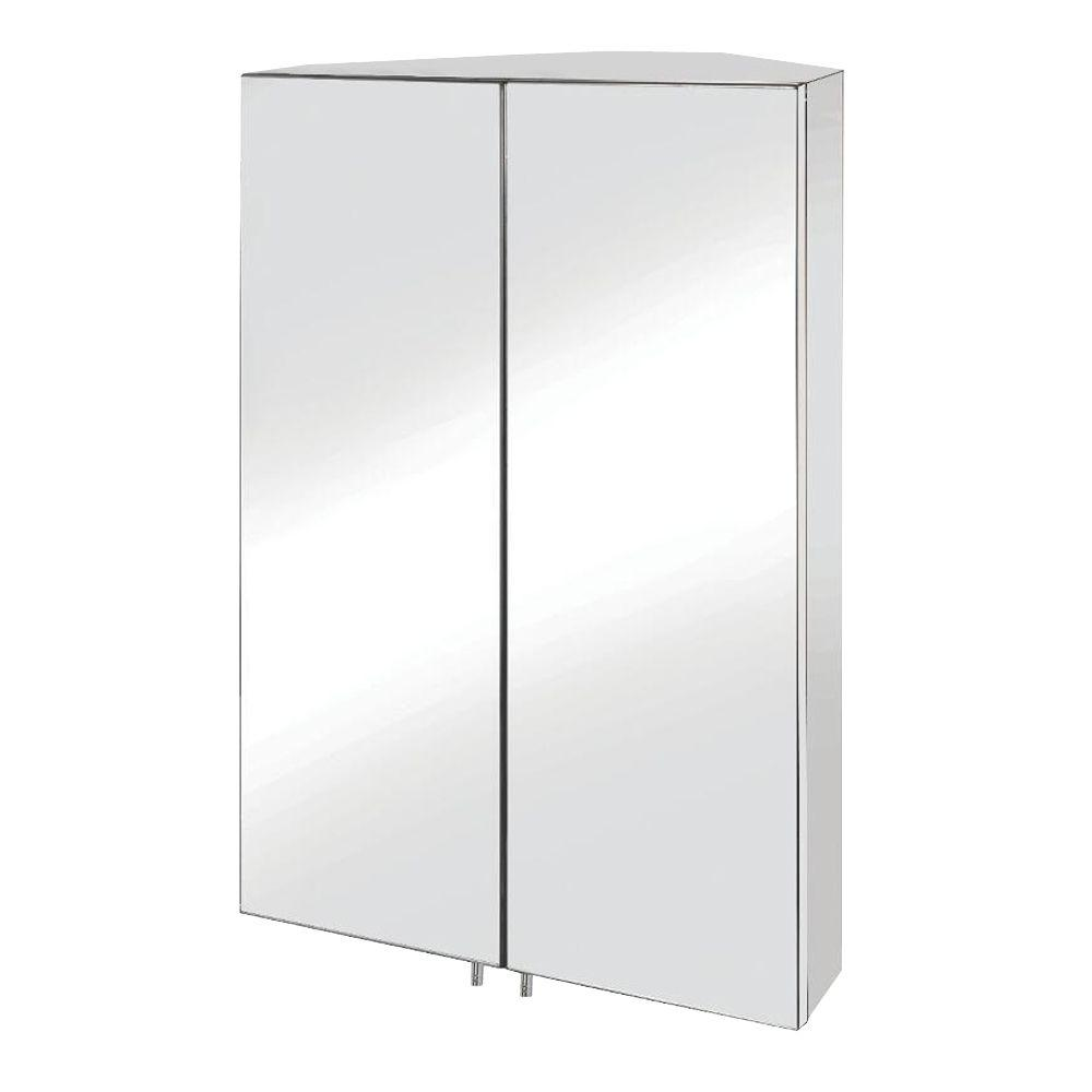 Croydex Avisio 27-14/25 in. H x 17-18/25 in. W x 10-63/100 in. D Frameless Surface-Mount Only Corner Bathroom Medicine Cabinet