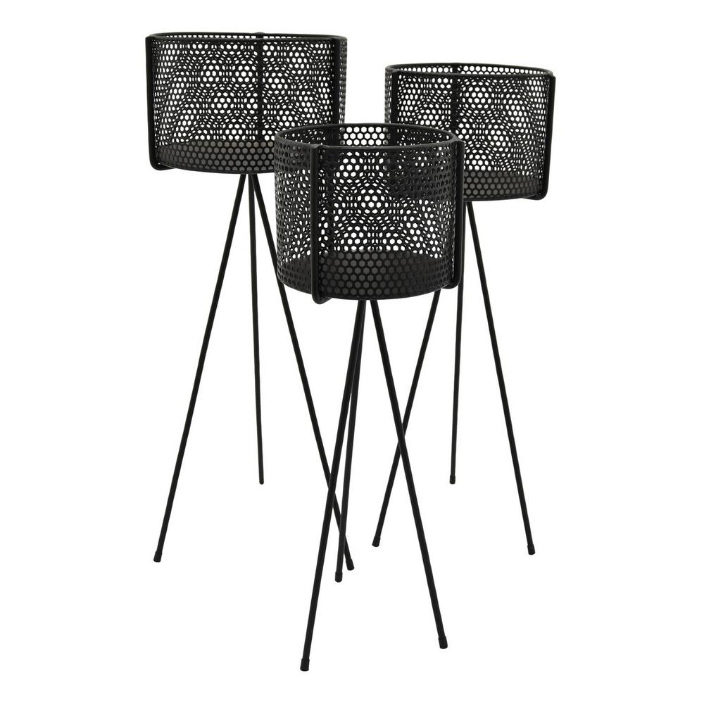 e1b0ea0b4997 THREE HANDS 27.25 in. Black Metal Plant Stand (Set of 3)-80847 - The ...