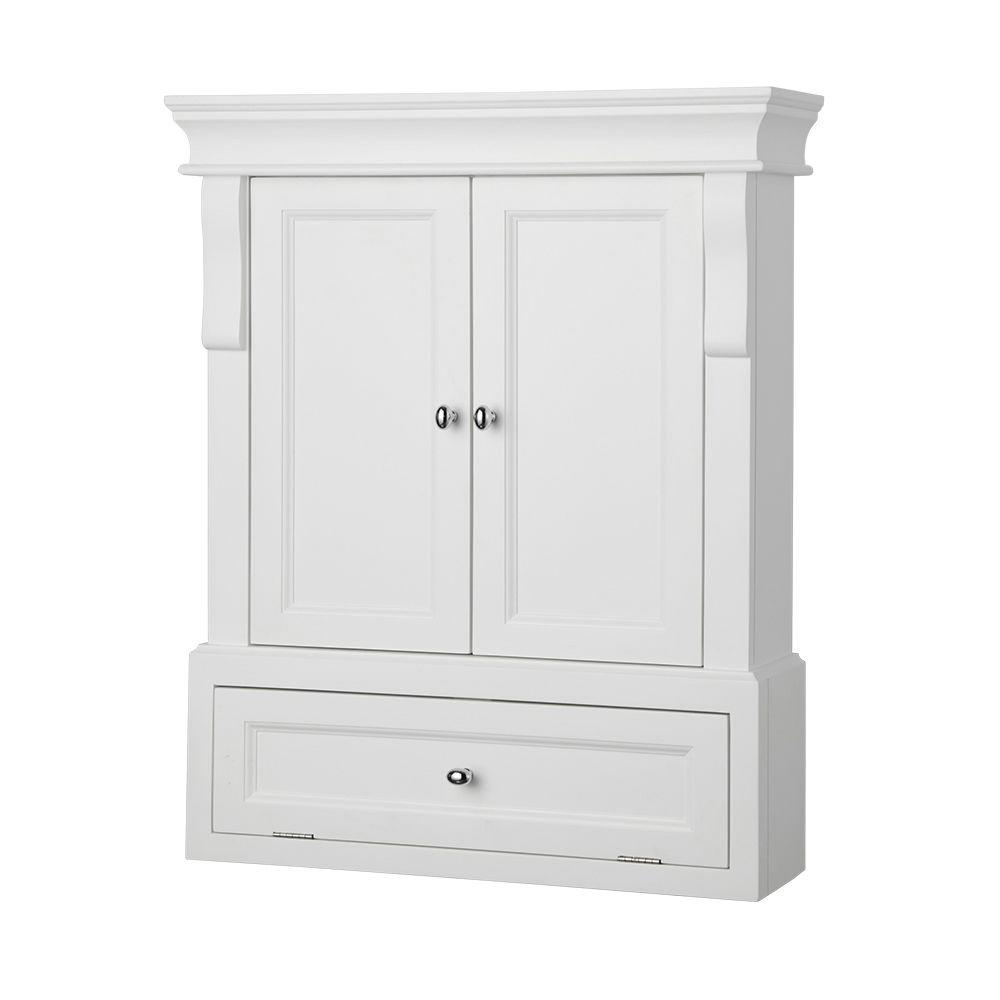 Home Decorators Collection Naples 26 1/2 In. W X 32 3/4 In. H X 8 In. D  Bathroom Storage Wall Cabinet In White NAWO2633   The Home Depot
