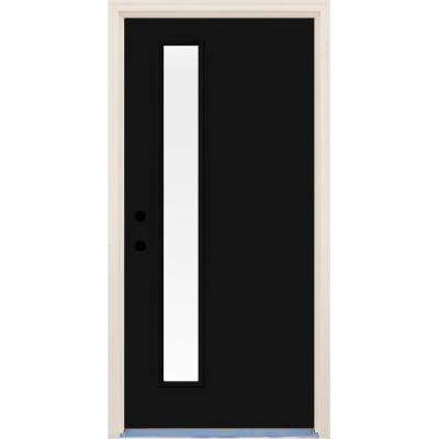 36 in. x 80 in. Inkwell Right-Hand 1 Lite Clear Glass Painted Fiberglass Prehung Front Door with Brickmould