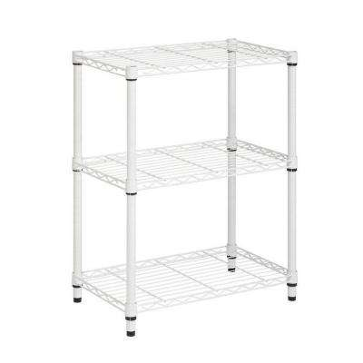 30 in. H x 24 in. W x 14 in. D 3-Shelves Steel Shelving Unit in White