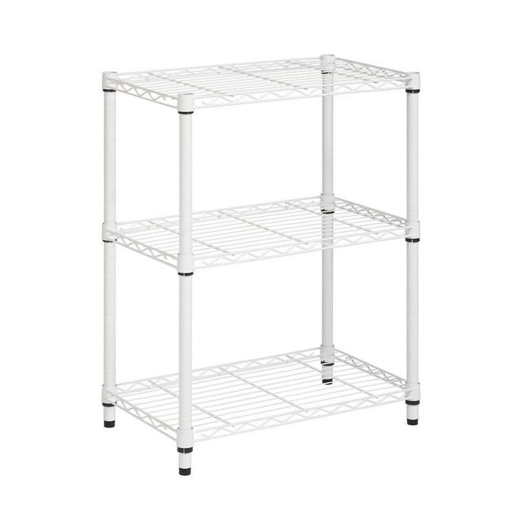 3-Shelf 30 in. H x 24 in. W x 14 in. D Steel Shelving Unit in White